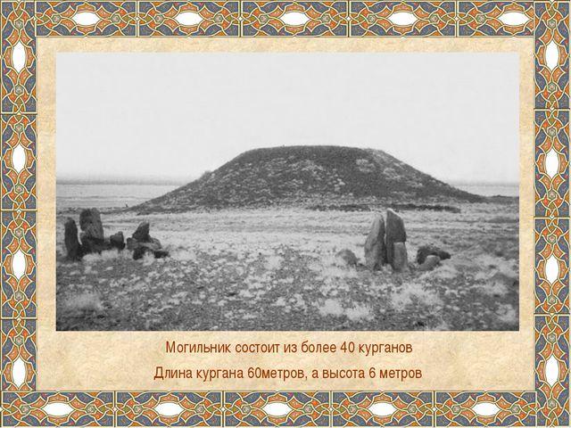 Могильник состоит из более 40 курганов Длина кургана 60метров, а высота 6 мет...