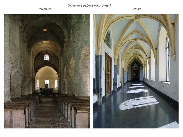 Отличия в работе конструкций Романика Готика