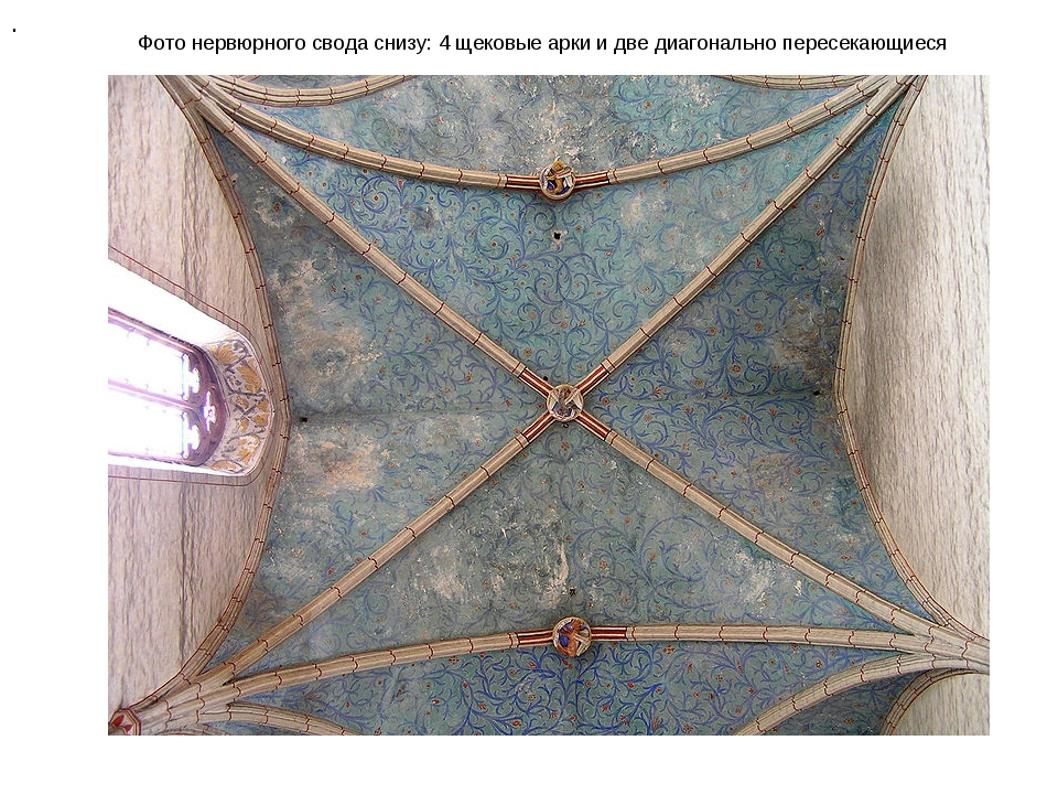 Фото нервюрного свода снизу: 4 щековые арки и две диагонально пересекающиеся .