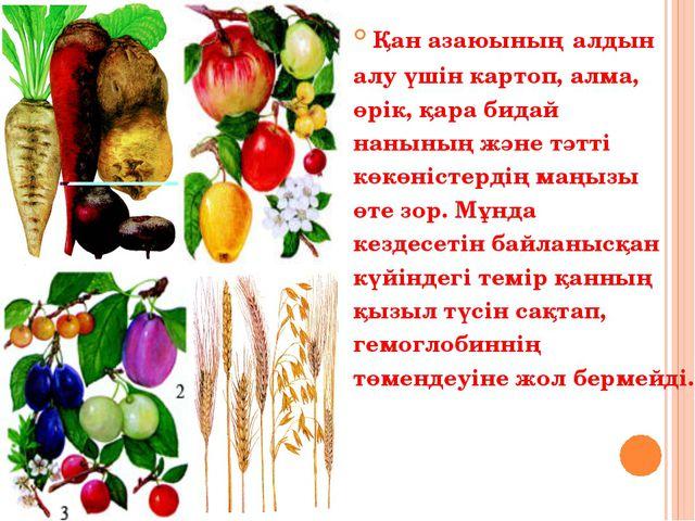 Қан азаюының алдын алу үшін картоп, алма, өрік, қара бидай нанының және тәтті...