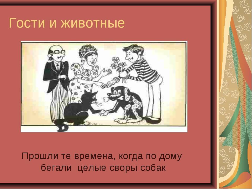 Гости и животные Прошли те времена, когда по дому бегали целые своры собак