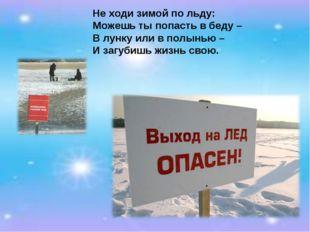 Не ходи зимой по льду: Можешь ты попасть в беду – В лунку или в полынью – И з