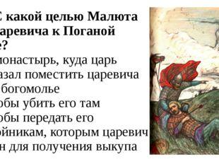 А3. С какой целью Малюта вёз царевича к Поганой Луже? 1) в монастырь, куда ца