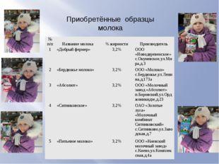 Приобретённые образцы молока № п/п Название молока % жирности Производи