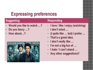 Expressing preferences Suggesting Responding Would you like to watch …? Do yo