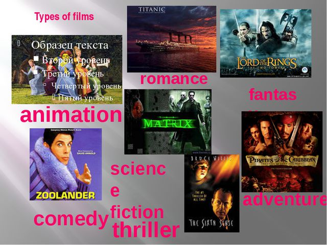 Types of films animation romance fantasy science fiction comedy adventure thr...