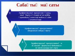 www.themegallery.com Сабақтың мақсаты Арифметикалық прогрессия ұғымы, оның бе