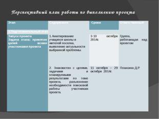 Перспективный план работы по выполнению проекта Этап Содержание Сроки Ответст