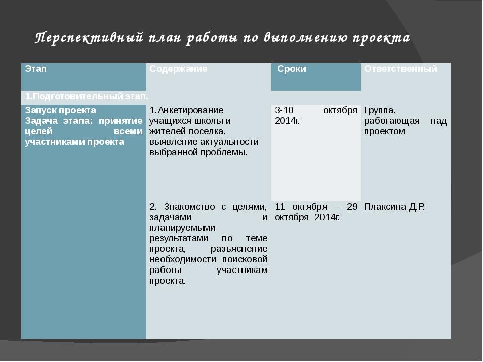 Перспективный план работы по выполнению проекта Этап Содержание Сроки Ответст...