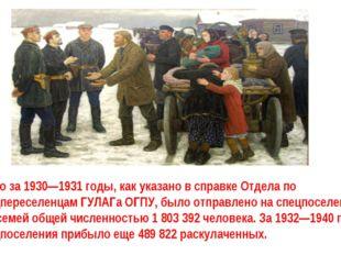 Всего за 1930—1931 годы, как указано в справке Отдела по спецпереселенцам ГУЛ