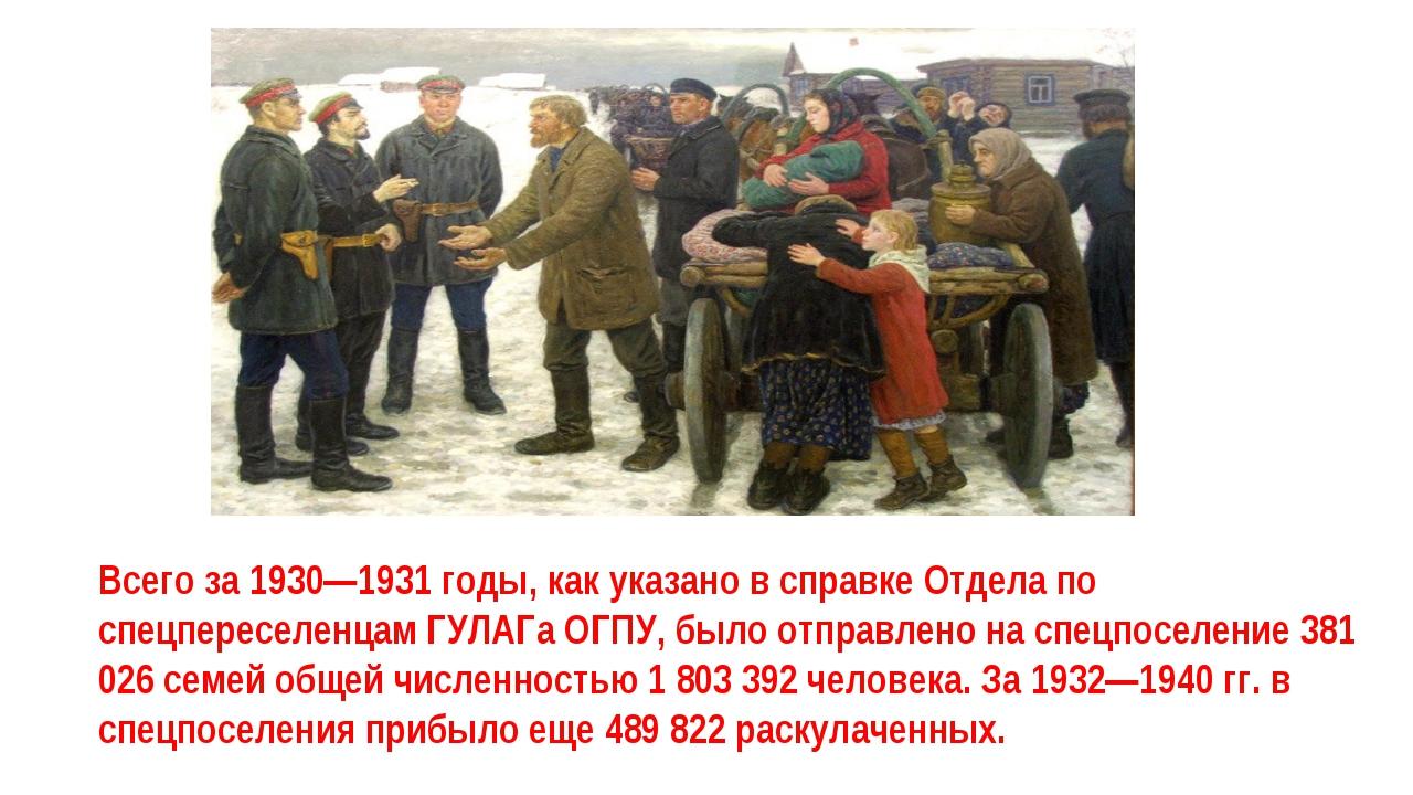 Всего за 1930—1931 годы, как указано в справке Отдела по спецпереселенцам ГУЛ...