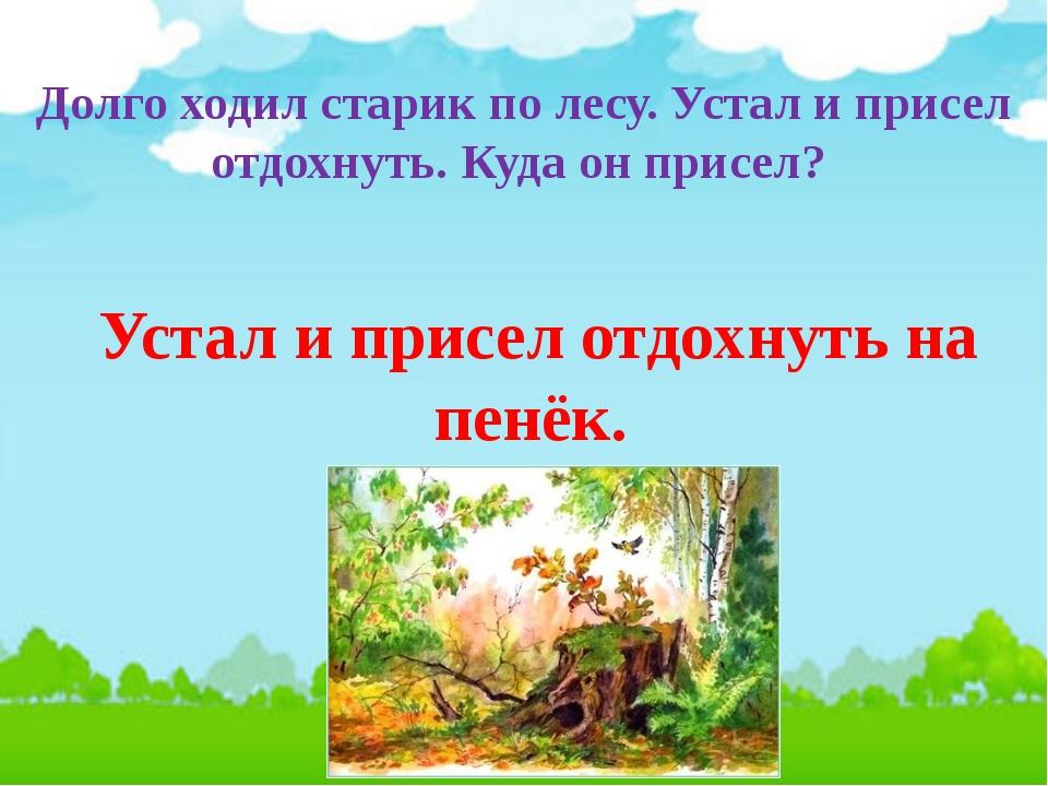 Долго ходил старик по лесу. Устал и присел отдохнуть. Куда он присел? Устал и...