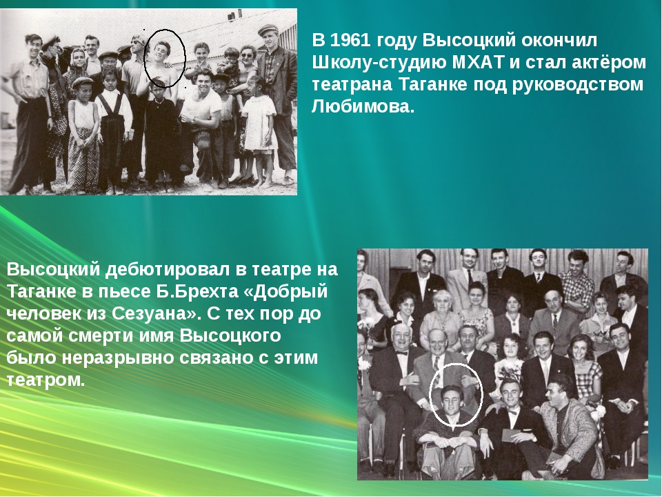 В 1961 году Высоцкий окончил Школу-студию МХАТ и стал актёром театрана Таганк...