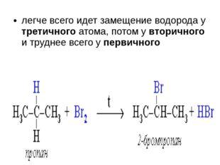 легче всего идет замещение водорода у третичного атома, потом у вторичного и