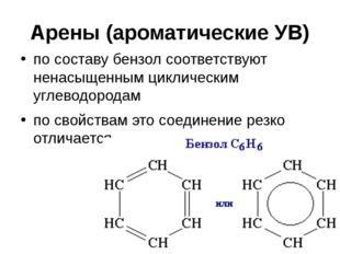 Арены (ароматические УВ) по составу бензолсоответствуют ненасыщенным цикличе
