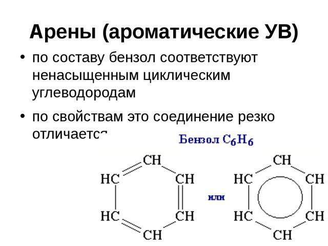 Арены (ароматические УВ) по составу бензолсоответствуют ненасыщенным цикличе...