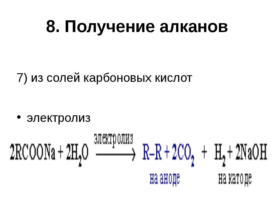 8. Получение алканов 7) из солей карбоновых кислот электролиз
