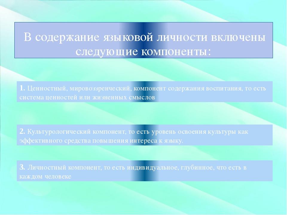 В содержание языковой личности включены следующие компоненты: 1. Ценностный,...
