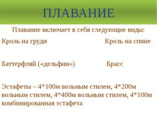 ПЛАВАНИЕ Плавание включает в себя следующие виды: Кроль на груди Кроль на спи