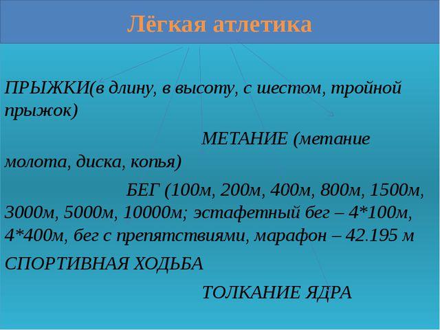 Лёгкая атлетика ПРЫЖКИ(в длину, в высоту, с шестом, тройной прыжок) МЕТАНИЕ (...