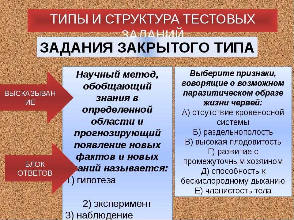 ТИПЫ И СТРУКТУРА ТЕСТОВЫХ ЗАДАНИЙ ЗАДАНИЯ ЗАКРЫТОГО ТИПА Научный метод, обобщ...