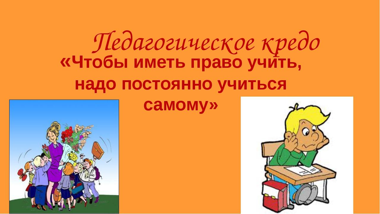 Педагогическое кредо «Чтобы иметь право учить, надо постоянно учиться самому»