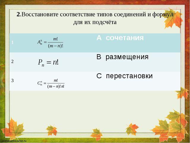 2.Восстановите соответствие типов соединений и формул для их подсчёта 1 А с...
