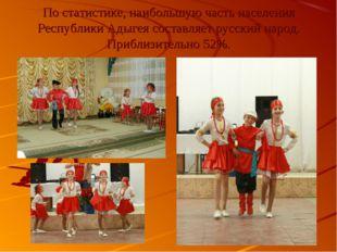 По статистике, наибольшую часть населения Республики Адыгея составляет русски