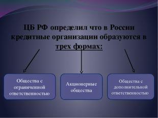 ЦБ РФ определил что в России кредитные организации образуются в трех формах: