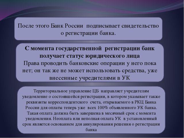 После этого Банк России подписывает свидетельство о регистрации банка. С моме...