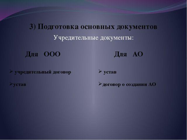 3) Подготовка основных документов Учредительные документы: Для ООО Для АО учр...