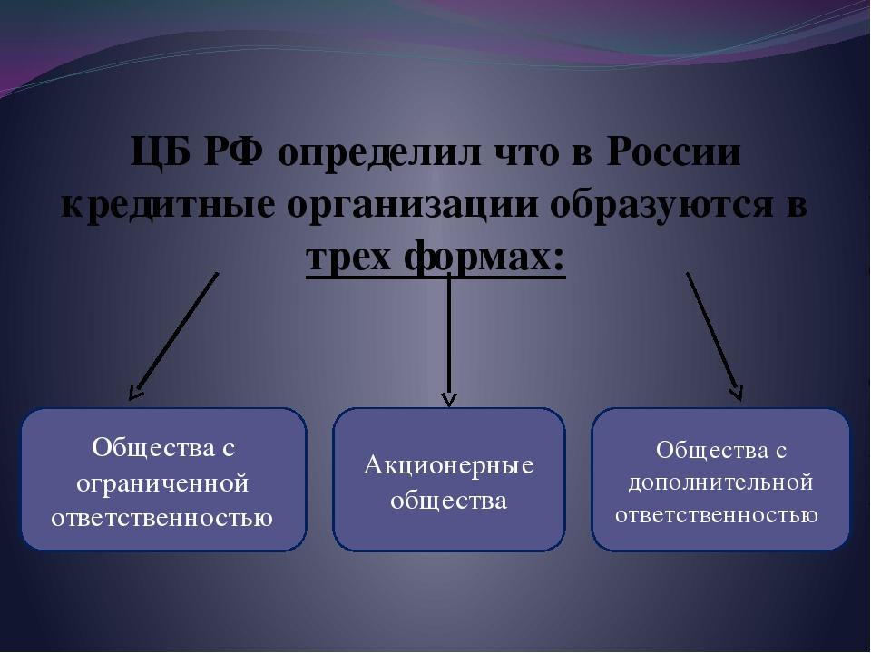 ЦБ РФ определил что в России кредитные организации образуются в трех формах:...