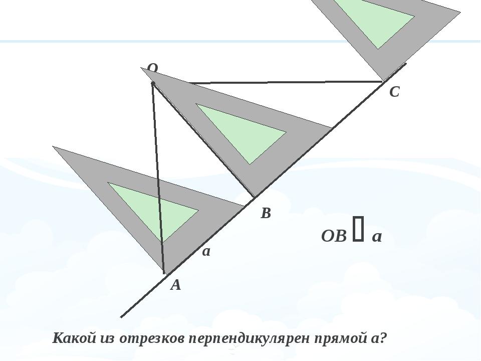 О В А С а Какой из отрезков перпендикулярен прямой а? ОВ  а