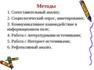 Методы 1. Сопоставительный анализ; 2. Социологический опрос, анкетирование; 3