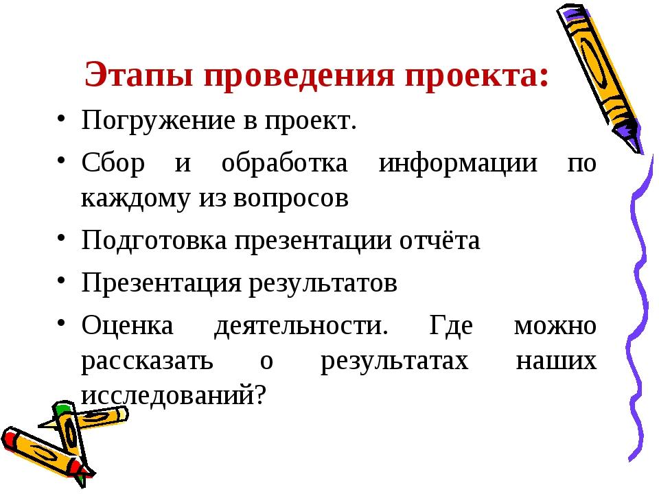 Этапы проведения проекта: Погружение в проект. Сбор и обработка информации по...