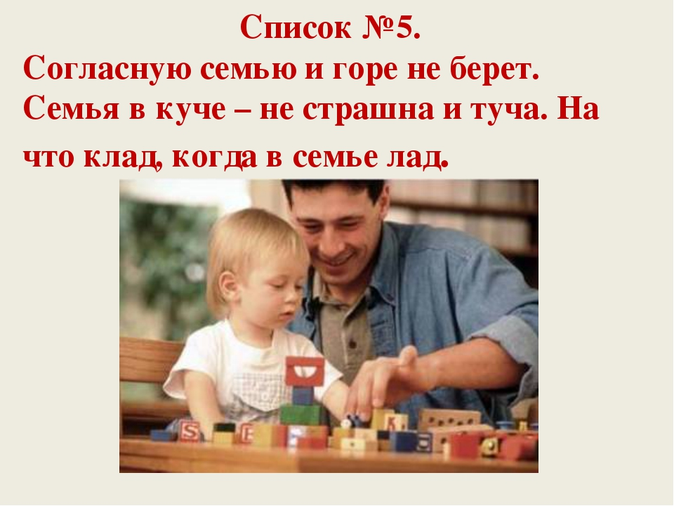 Список №5. Согласную семью и горе не берет. Семья в куче – не страшна и туча....