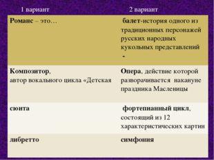 1 вариант 2 вариант Романс– это… балет-история одного из традиционных персо