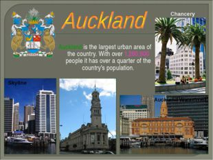 Auckland is the largest urban area of the country. With over 1,260,900 people
