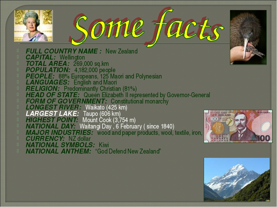 FULL COUNTRY NAME : New Zealand CAPITAL: Wellington TOTAL AREA: 269,000 sq.km...