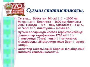 Сугыш статистикасы. Сугыш… Бресттан Мәскәүгә – 1000 км, Мәскәүдән Берлинга –