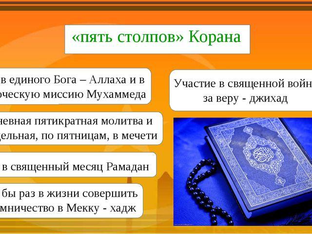 «пять столпов» Корана Вера в единого Бога – Аллаха и в пророческую миссию Му...