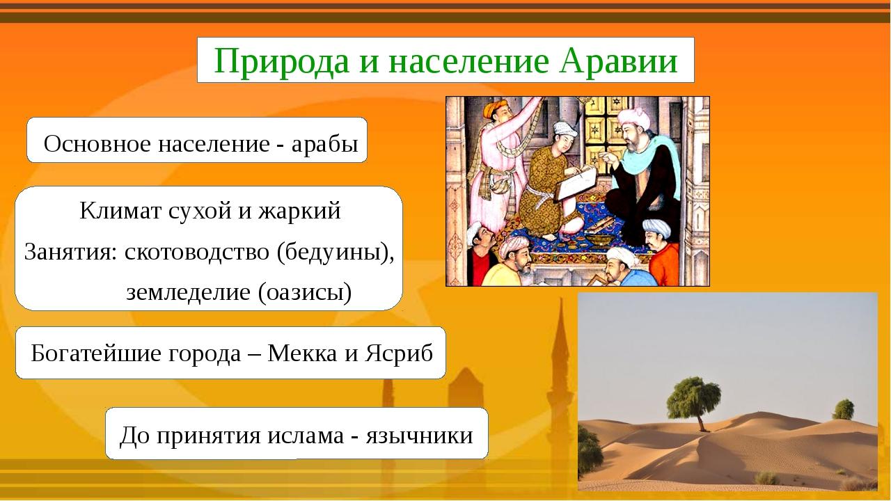 Природа и население Аравии Основное население - арабы Климат сухой и жаркий...