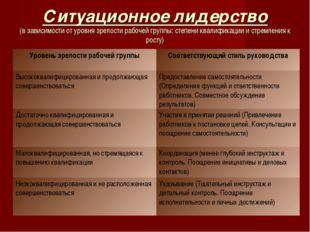 Ситуационное лидерство (в зависимости от уровня зрелости рабочей группы: степ