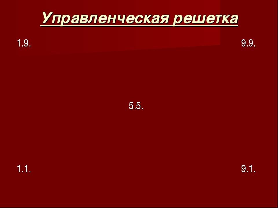 Управленческая решетка 1.9.9.9.    5.5....