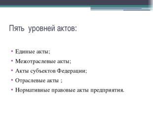 Пять уровней актов: Единые акты; Межотраслевые акты; Акты субъектов Федерации