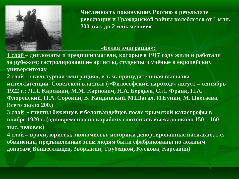 Численность покинувших Россию в результате революции и Гражданской войны коле...