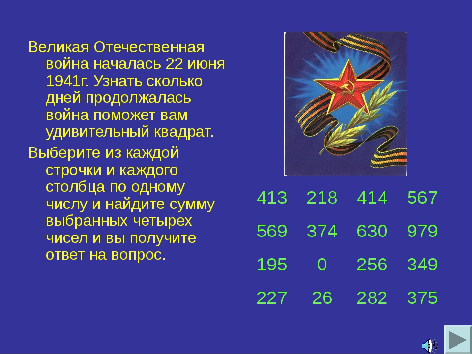 Великая Отечественная война началась 22 июня 1941г. Узнать сколько дней продо...