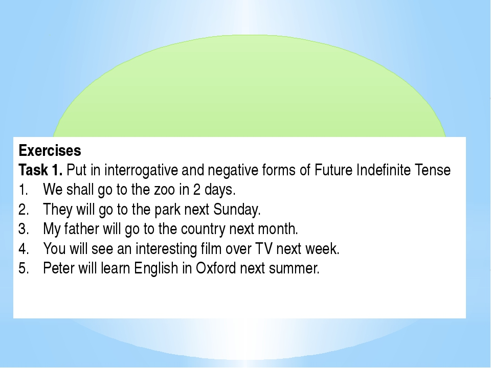 Exercises Task 1. Put in interrogative and negative forms of Future Indefini...