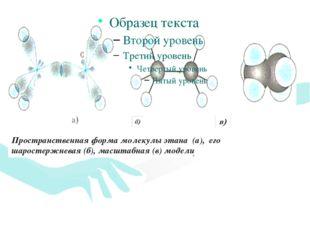 Пространственная форма молекулы этана (а), его шаростержневая (б), масштабная