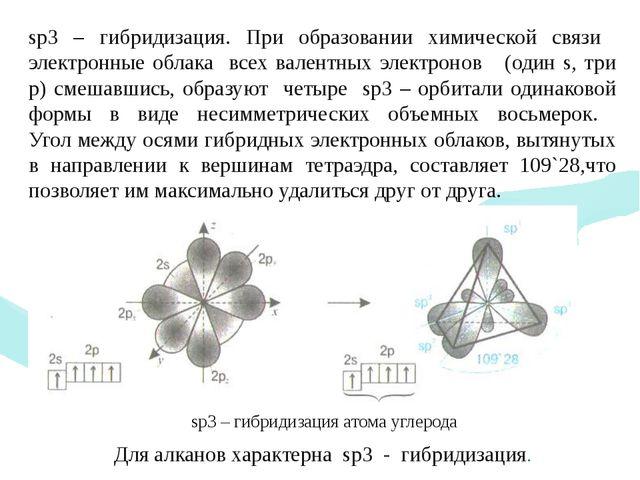 sp3 – гибридизация. При образовании химической связи электронные облака всех...